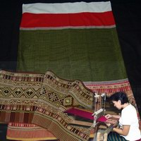 The hand-woven fabric from the Suntree Thai Weaving Center